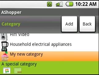 articles par categories, application sur gphone