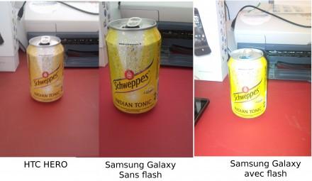 Comparatif HTC Hero, Samsung Galaxy (sans flash et avec)