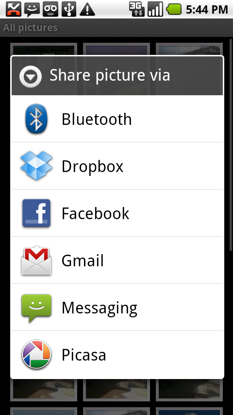 dropbox application menu partage