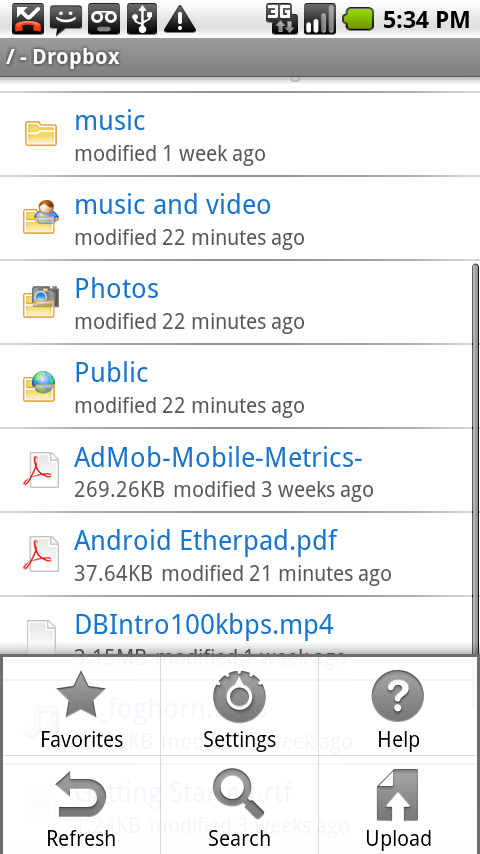 dropbox android application menu